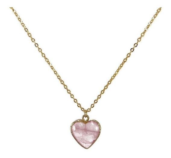 Cadena De Oro Con Dije Cuarzo Corazón Rosa Dama