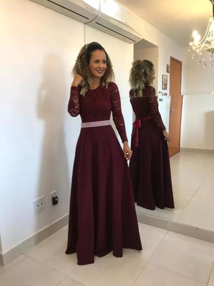 Vestido Longo Godê De Festa Madrinha Casamento Formatura