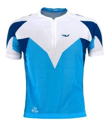 Camisa Ciclismo Ultra Bikes Manga Curta Tam M Azul E Branco