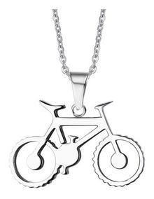 Colar Masculino Com Pingente De Bicicleta Bike Em Aço Inox