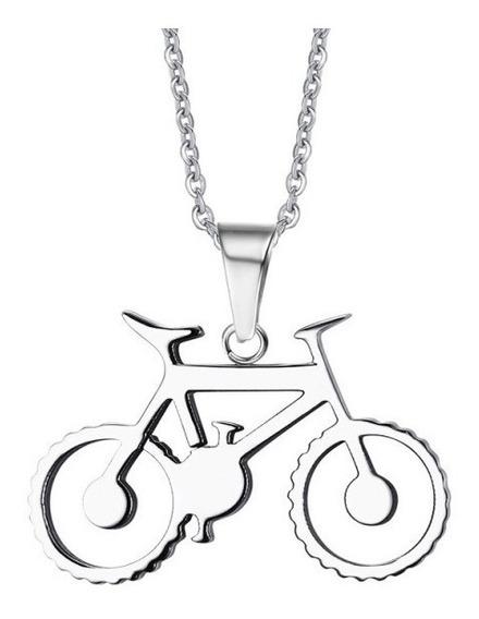 Colar Masculino Feminino Pingente Bicicleta Ciclista Aço