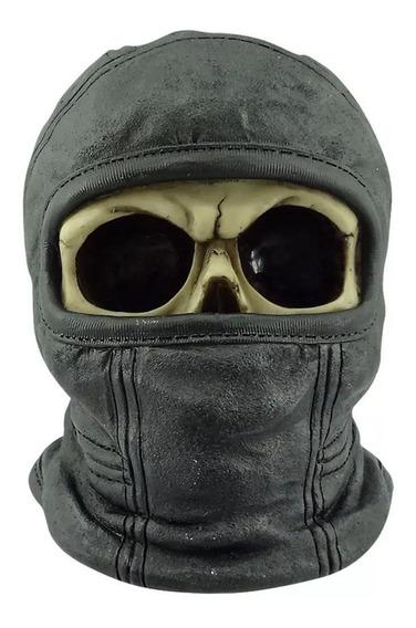 Caveira Resina Enfeite Touca Ninja 16cm Motoqueiro Skull