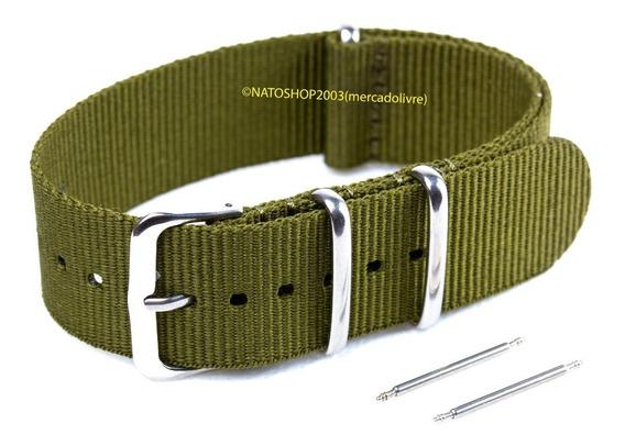 Pulseira Relógio Nato Nylon 22mm Verde Oliva 3 Anéis