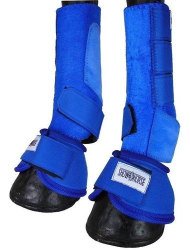 Imagem 1 de 6 de Kit Cloche E Caneleira Azul Para Cavalo