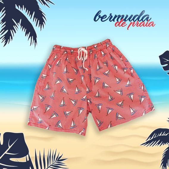 Bermuda Short Praia Banho Floral Masculino Verão Estampado