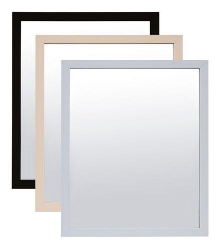 Imagen 1 de 5 de Espejo Decorativo P/colgar 45x55cm Madera / Blanco / Negro