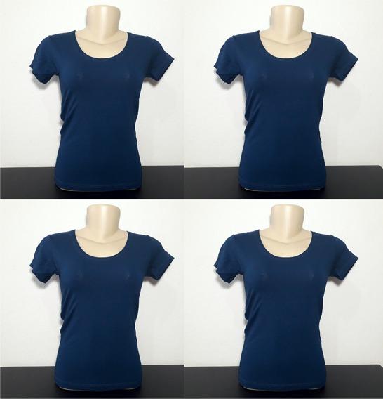 Kit 4 Camisetas Blusa Baby Look Blusa Feminina Azul Marinho