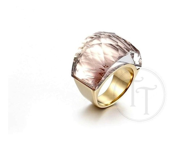 Anillo Tiesto Titanio Gold 18k Swarovski Honey