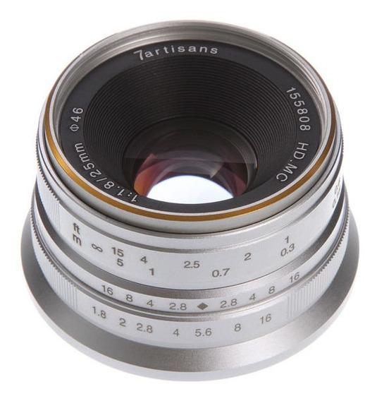 Lente 7 Artisans 25mm F1.8 E-mount 6000 6300 6500 A7s 6300 Prata A9 A6500 6400 A7r A7s A5000 A5100