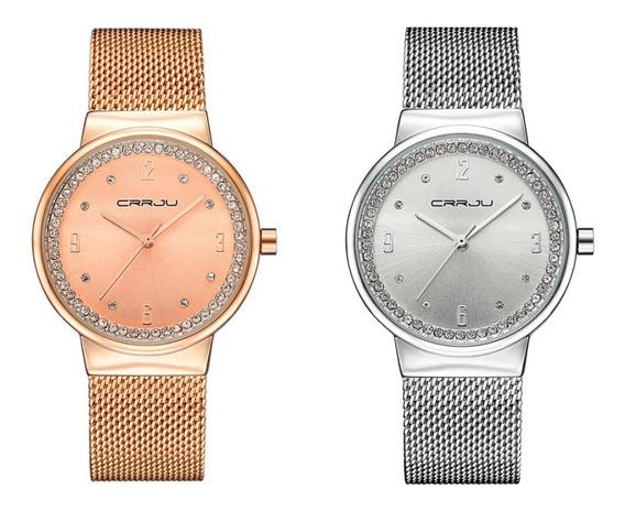 Kit 2 Relógios Femininos Dourado Rose Prata Luxo Crrju 2122