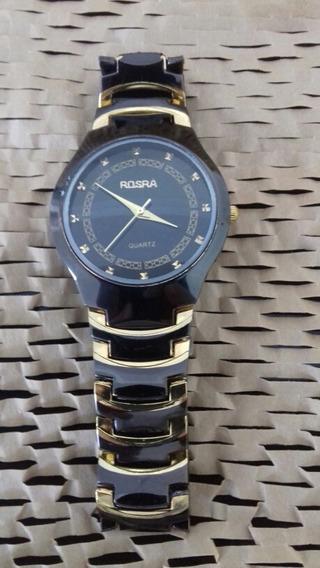 Relógio Pulso Feminino Rosra, Preto Com Dourado - Cod. 00358