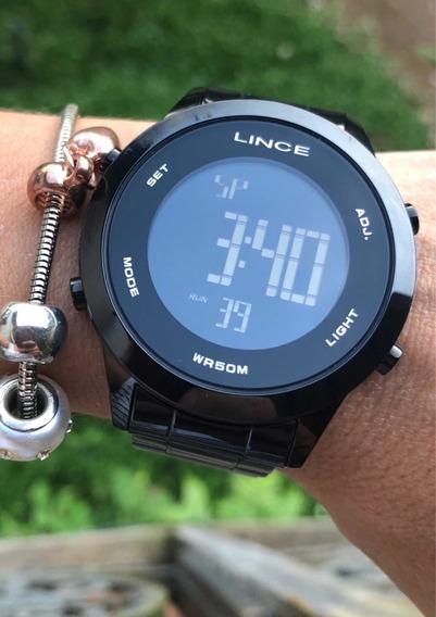 Relógio Feminino Lince Digital Negativo Preto Black Sdph085l
