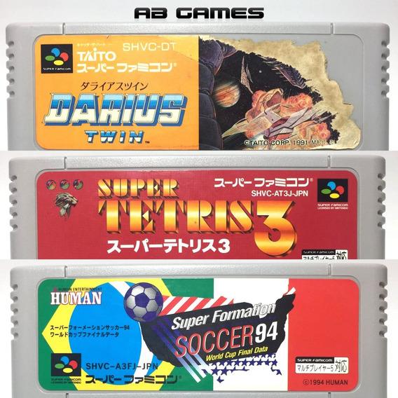 Super Famicom Lote Darius Twin Tetris 3 Formation Soccer 94