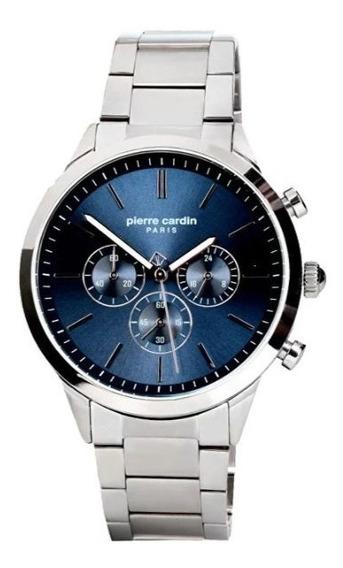 Reloj Pierre Cardin A.pc902361f08 Plateado Azul Crono Hombre