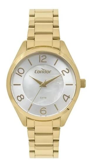 Relógio Condor Dourado Analógico Kit Co2036kwuk4b
