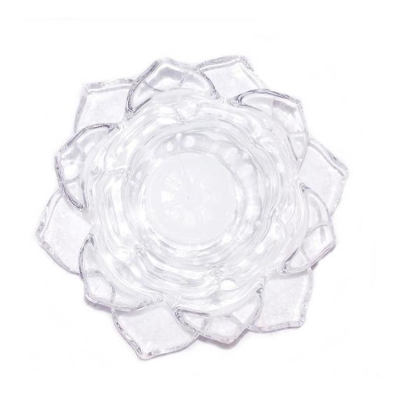 Porta Vela Eden Cristal Flor De Loto Moderno Deco Pureza Elevación Espiritual Centro De Mesa Zen Buda X5u 250.011012