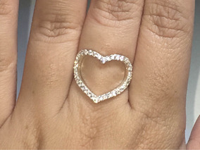 Anel Coração Prata 925 Com 36 Pedras Zircônias
