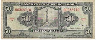 Ecuador Antiguo Billete 50 Sucres 1.976 Tt