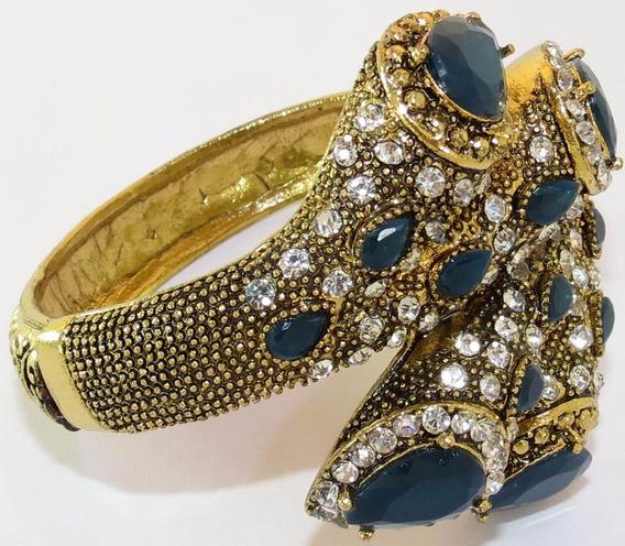 Bracelete Dourado Com Strass Grande - Mola/abertura N001