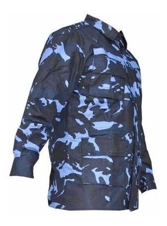 Camisa Camuflada Gandola Tático Woodland Azul Rip Stop
