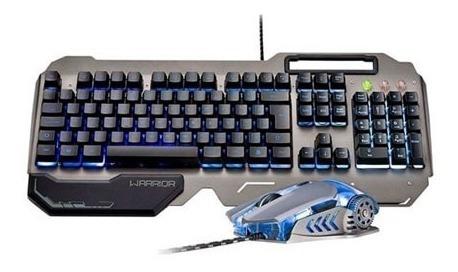 Teclado E Mouse Gamer Superficie Em Metal Warrior Ç - Tc223
