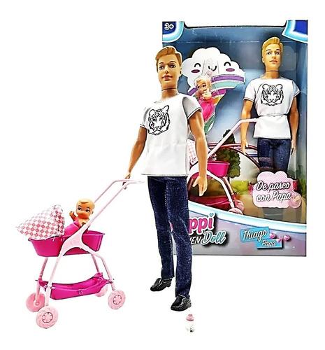 Imagen 1 de 4 de  Muñeco Thiago Papa + Bebe Cochecito Paseo Poppi Men Doll