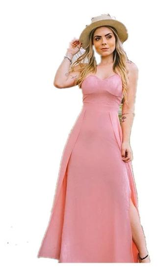 Vestido Longo Lisa Alça Com Decote Frente E Costas