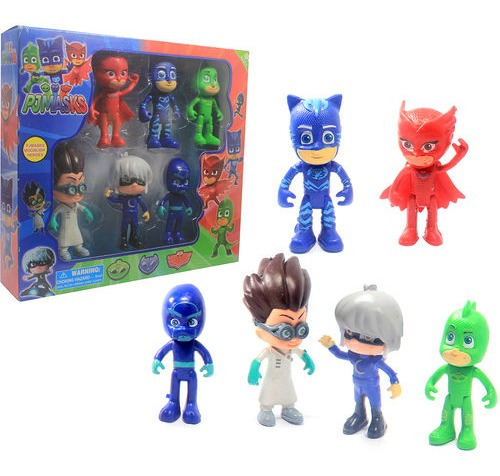 Brinquedo Menino Gato Corujita Lagartixo Pj Masks 5 Bonecos