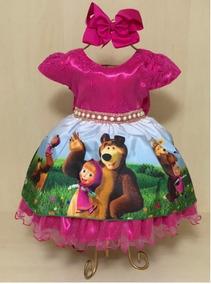 Vestido Festa Super Luxo Marsha E O Urso Promoção Aniversari
