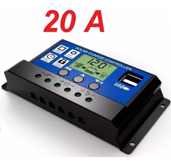 Controlador Placa Solar Carga Pwm Lcd 20a Usb Regulador