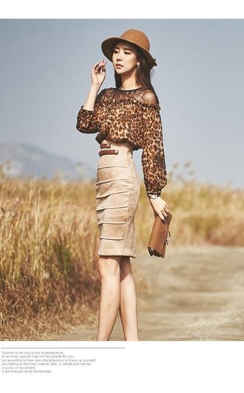 Conjunto Falda & Camisa Leopard Elegante Formal Oficina Cock