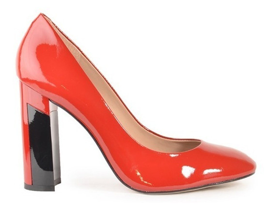 Zapatos De Mujer De Taco Cuadrado Rojo - Cemento - Ferraro