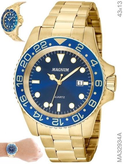 Relógio Magnum Masculino Ma32934a Dourado Em Aço