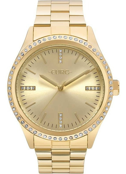 Relógio Euro Feminino Pedras Dourado - Eu2035ynt/4d