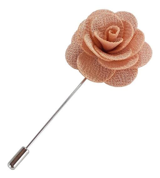 Fistol Pin Broche Flor De Tela Color Rosa Palo Para Solapa