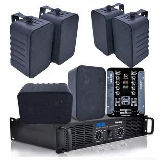 Combo Musica Funcional Para Comercios Con 6 Bafles Con Potencia Con Consola Mixer
