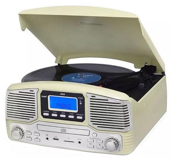 Toca Discos Raveo Jazz Creme Bluetooth 10 Watts Aux Rádio Fm