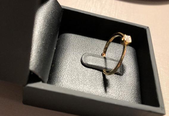 Anel Solitário Ouro 18 K E Diamante Vivara Original Aro 18