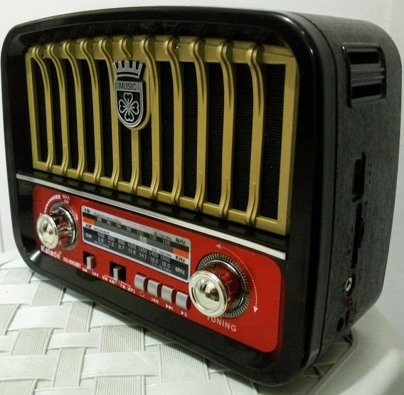 Caixa Som Antigo Retro Vintage Radio Am Fm Bluetooth Sd Top