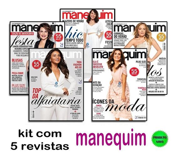 Lote Kit 5 Revistas Manequim Com Moldes Moda Costura Novas