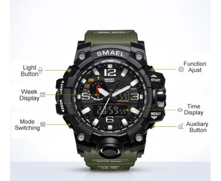 Relógio Masculino Militar Shock Esportivo Smael 1545/01