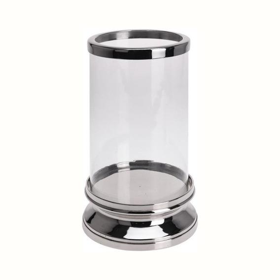 Candelabro Porta Vela Cilindro Aluminio Y Vidrio 15x5.5 Cm