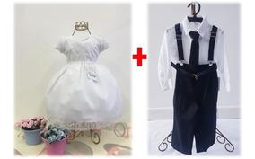 Conjunto Roupinha Casal Batizado Bebês Pajem Casamento