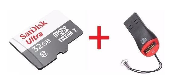Cartão Micro Sd Ultra 32gb Classe 10 80mb+ Leitor Usb Gratis
