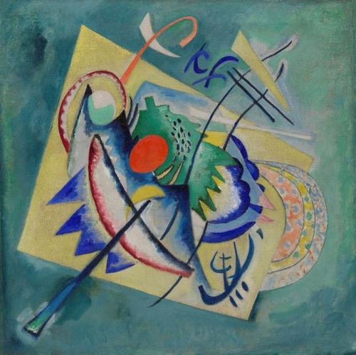 Poster Kandinsky 50x50cm Vermelho Oval - Enfeite Para Casa