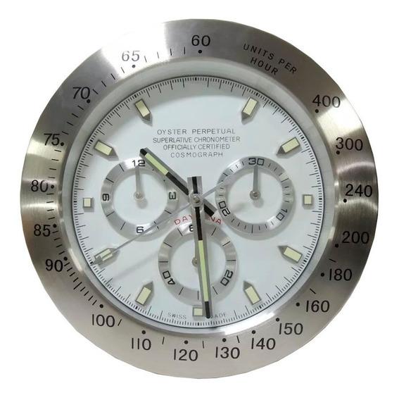 Relógio De Parede Decorativo Grande Sem Barulho Inox Daytona