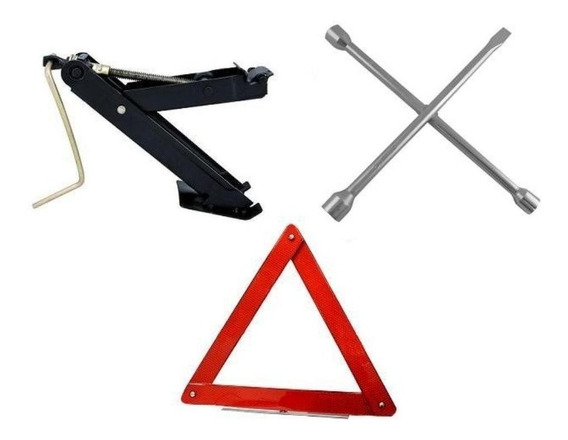 Kit Automotivo Macaco Joelho 1t + Chave De Roda + Triângulo