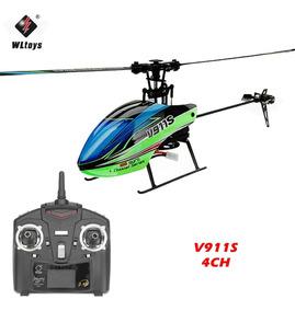 Mini Helicóptero V911s Wltoys 4ch Flybarless Completo Top!