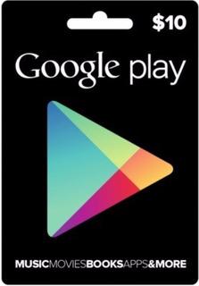 Tarjeta Gift Card Google Play 10 Gp10 Dolares Usd Playstore