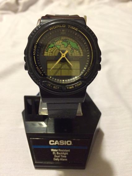 Reloj Casio Aw-21u Hora Mundial Doble Horario Digi-analogo